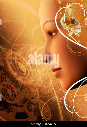 Biological clock, conceptual artwork - Stock Photo
