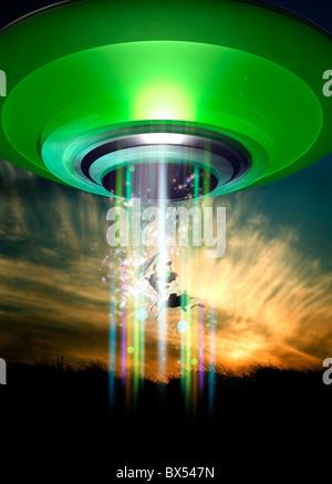 UFO cattle abduction, conceptual artwork - Stock Photo