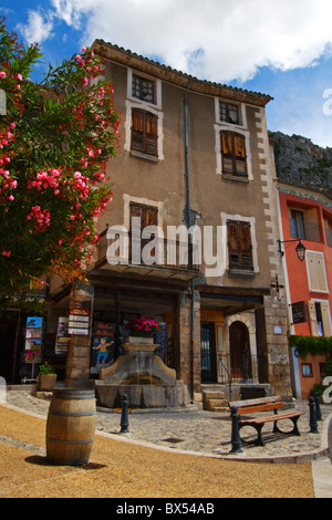 French village of Moustiers-Sainte-Marie in the Verdon Valley, Provence region of France, Europe. - Stock Photo