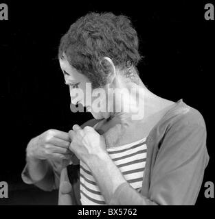 French actor and mime Marceal Marceau performing in Theatre at Vinohrady in Prague, September 1969.  CTK Photo/Jan - Stock Photo