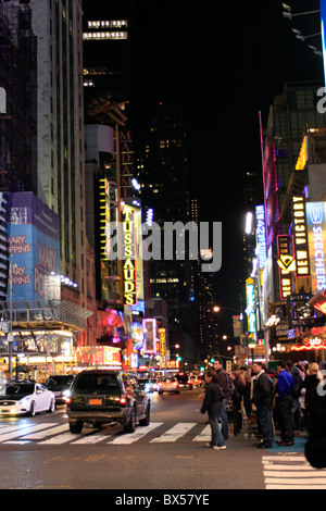 Looking west on 42nd St. at Times Square New York City - Stock Photo