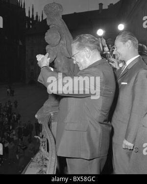 Josip Broz Tito, Alexander Dubcek, Prague Castle - Stock Photo