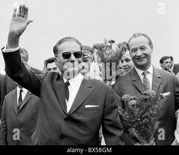 Josip Broz Tito, Alexander Dubcek, Prague, airport, - Stock Photo