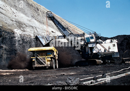 Coal, surface mine, P & H Electric shovel loading rough service dump truck. - Stock Photo