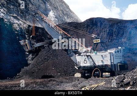 Coal, surface mine, P & H Electric Shovel excavating from coal seam. - Stock Photo