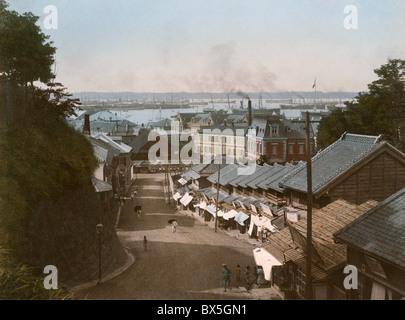 geography / travel, Japan, Yokohama, harbour, view from 'Camp Hill' (Minato No Mieru Oka Park), photo, coloured, - Stock Photo