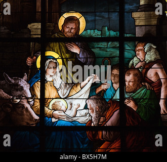 Stained glass window created by F. Zettler (1878-1911) at the German Church (St. Gertrude's church) in Gamla Stan - Stock Photo