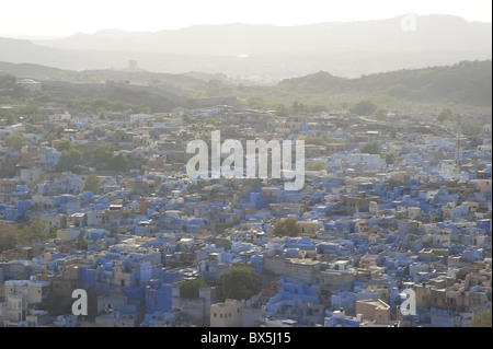 An aerial view of The Blue City, Jodhpur, Rajasthan, India, Asia - Stock Photo