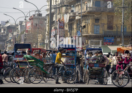 A mass of rickshaws on Chandni Chowk, the main avenue in Old Delhi, India, Asia - Stock Photo