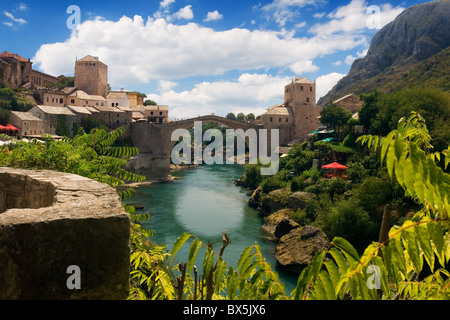 the old bridge in Mostar and river Neretva - Stock Photo