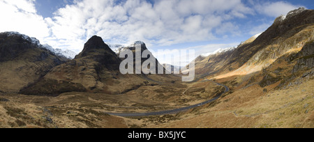 Panoramic view of Glencoe, near Fort William, Highland, Scotland, UK - Stock Photo