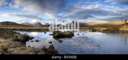Panoramic view across Lochain Na h'Achlaise, Rannoch Moor, near Fort William, Highland, Scotland, UK - Stock Photo