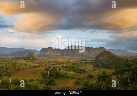 View of Vinales Valley at dawn from grounds of Hotel Los Jasmines, Pinar Del Rio, Cuba - Stock Photo