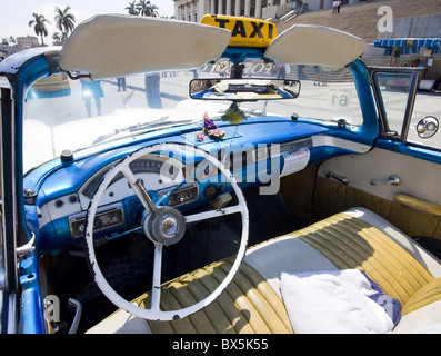 Interior of old American car being used as a taxi, Havana, Cuba - Stock Photo