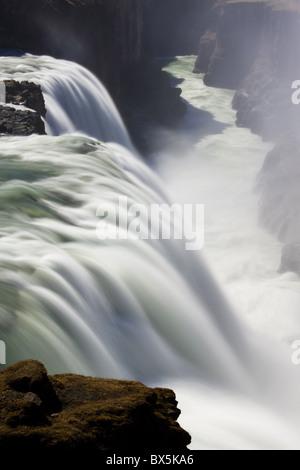 Waters of Gullfoss, Europe's biggest waterfall, thundering into a deep ravine, near Reykjavik, Iceland, Polar Regions - Stock Photo