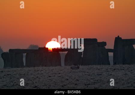 Stonehenge, UNESCO World Heritage Site, at sunrise, Wiltshire, England, United Kingdom, Europe - Stock Photo