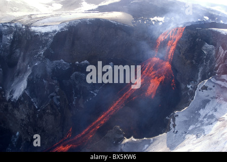 Lava flowing down mountain from Eyjafjallajokull volcano, Iceland, Polar Regions - Stock Photo