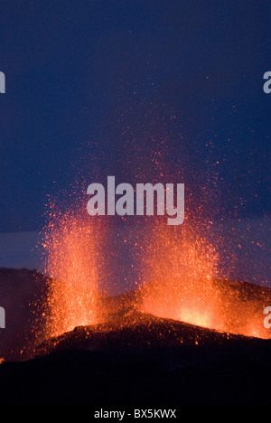 Fountaining lava from Eyjafjallajokull volcano, Iceland, Polar Regions - Stock Photo