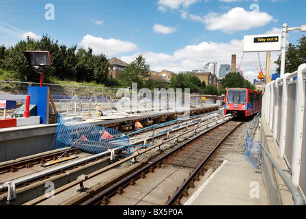 Platform extension work on the DLR line at Mudchute station Docklands East London UK - Stock Photo