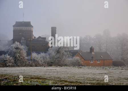 The Brewery, Hook Norton, Oxfordshire after hoar frost - Stock Photo