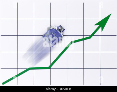 Ein Geldschein  Hemd steigt auf einem Chart |A cash note - shirt rises on a Chart| - Stock Photo