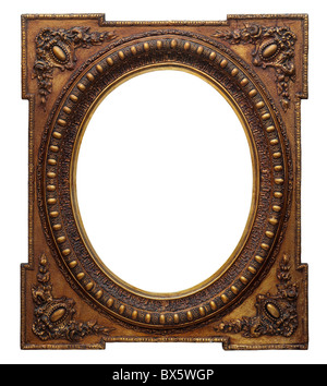 Wooden photo frame oval vintage golden (isolated with clipping path) - Stock Photo