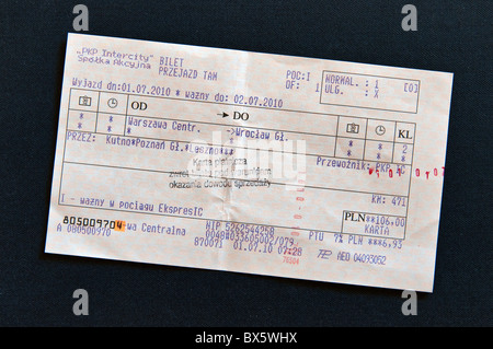 Validated train ticket for express train from Warsaw to Wroclaw, Poland - Stock Photo