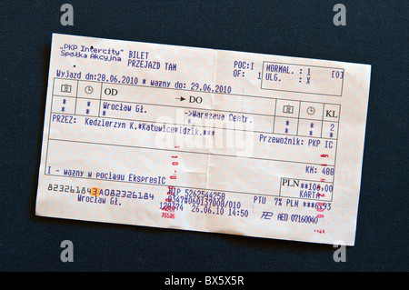 Validated train ticket for express train from Wroclaw to Warsaw, Poland - Stock Photo