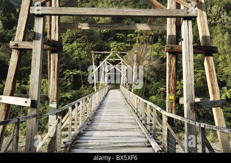 Tauranga historic bridge, Waioeka Gorge Scenic Reserve, Bay of Plenty, North Island, New Zealand, Pacific - Stock Photo