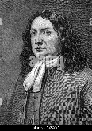 William Penn, founder of Pennsylvania in the Americas; Black and White Illustration; - Stock Photo