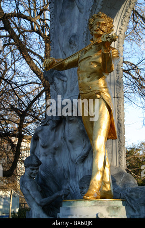 statue of Johann Strauss in the city park - Wien, Vienna, Austria. Oesterreich - Stock Photo