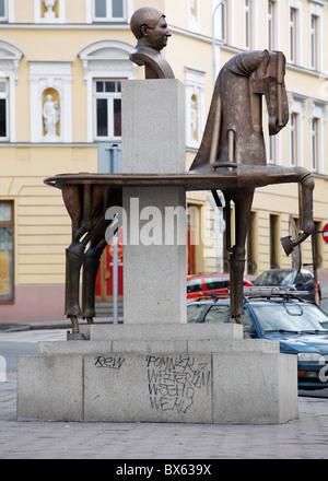 Prague, equestrian statue of Jaroslav Hasek, the autor of the Good Soldier Svejk, iconic author.  (CTK Photo/Josef - Stock Photo