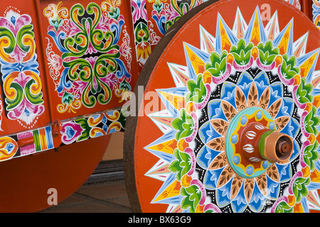 Decorative ox-cart in Sarchi Village, Central Highlands, Costa Rica, Central America - Stock Photo