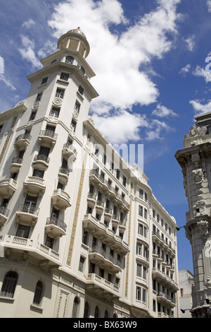Buildings on Plaza Fabini, Montevideo Center, Uruguay, South America - Stock Photo