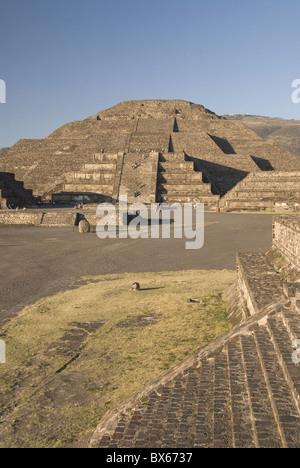 Pyramid of the Moon, Archaeological Zone of Teotihuacan, UNESCO World Heritage Site, Mexico, North America - Stock Photo