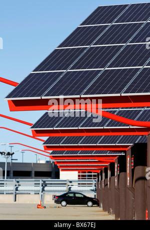 Solar panels on the roof of a parking garage at Logan International Airport, Boston, Massachusetts - Stock Photo