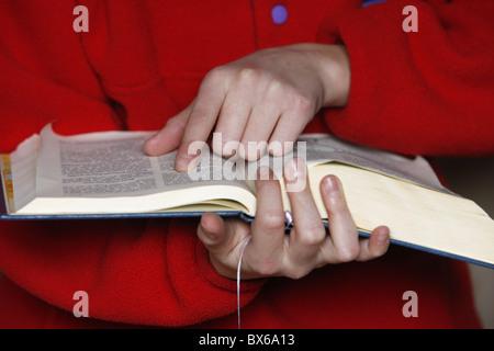 Bible reading, Saint Gervais, Haute Savoie, France, Europe - Stock Photo
