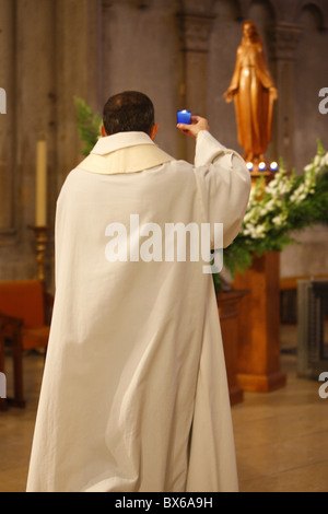 Feast of the Immaculate Conception in St. John's cathedral, Lyon, Rhone, France, Europe - Stock Photo