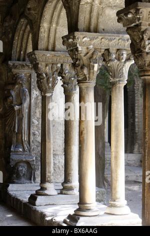 Saint-Trophime church cloister, Arles, Bouches du Rhone, France, Europe - Stock Photo