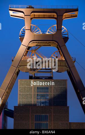 Shaft tower 12 UNESCO world heritage site Zeche Zollverein in Essen-Katernberg in the evening, Ruhrgebiet, Germany - Stock Photo