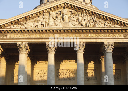 Pediment and columns of the Pantheon, Paris, France, Europe - Stock Photo