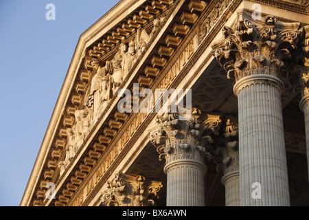 Pediment and Corinthian columns of the Pantheon, Paris, France, Europe - Stock Photo