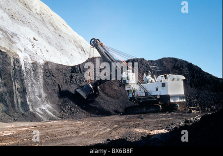 Coal, surface mine, P & H  Electric shovel excavating from coal seam, - Stock Photo