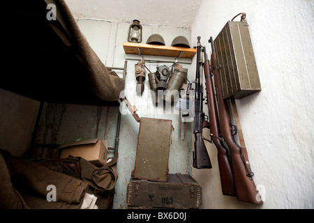 bedroom, Fort MO-S 19 Alej, Museum of the fortifications, Hlucin-Darkovicky - Stock Photo