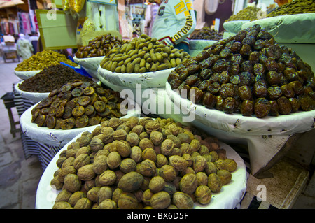 dates walnuts and figs for sale in the souk of the old medina of fez