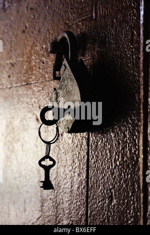 Rusty Padlock with key on an old shed door - Stock Photo