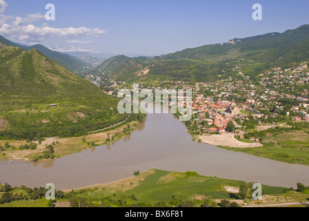 View over the Mtkvari River and Mtskheta, Georgia, Caucasus, Central Asia, Asia - Stock Photo