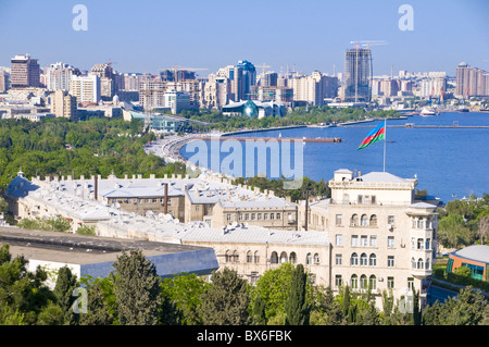 View over Baku Bay, Baku, Azerbaijan, Central Asia, Asia - Stock Photo