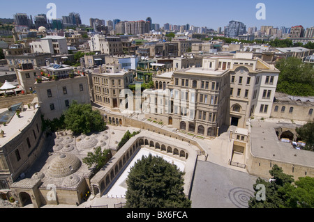 View from the Maiden Tower over the Old City of Baku, UNESCO World Heritage Site, Azerbaijan, Central Asia, Asia - Stock Photo