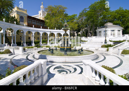Baroque fountain square at the old city of Baku, Azerbaijan, Central Asia, Asia - Stock Photo